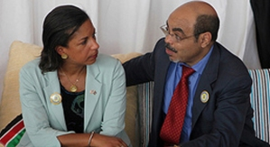 Secretary Susan Rice and meles Zenawi