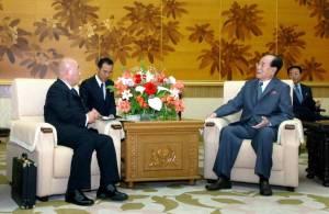 Isao Iijima and Kim Yong-nam in Pyongyang