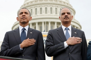 U.S. President Obama and Attorney General Holder attend the National Peace Officers Memorial Service at the Capitol in Washington